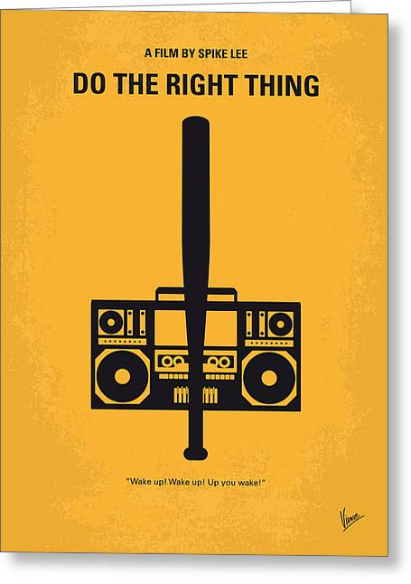 Graphic Design Greeting Cards - No179 My Do the right thing minimal movie poster Greeting Card by Chungkong Art