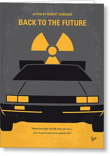 The 80s Greeting Cards - No183 My Back to the Future minimal movie poster Greeting Card by Chungkong Art