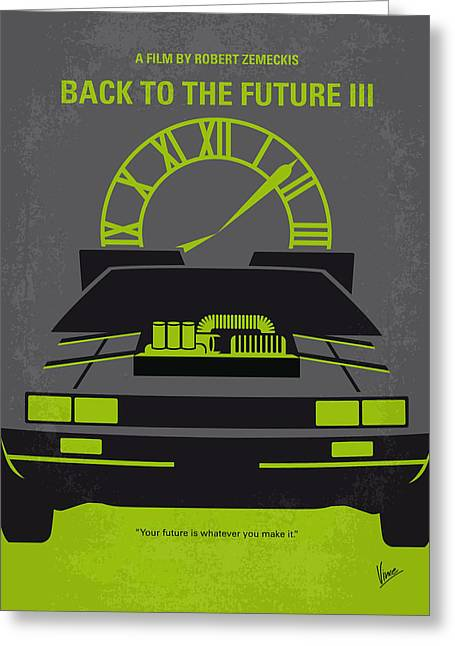 The 80s Greeting Cards - No183 My Back to the Future minimal movie poster-part III Greeting Card by Chungkong Art