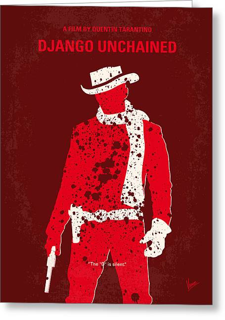 Film Print Greeting Cards - No184 My Django Unchained minimal movie poster Greeting Card by Chungkong Art