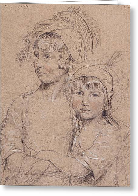 Sisters Drawings Greeting Cards - No.1857 The Misses Rigby, The Two Greeting Card by John Downman