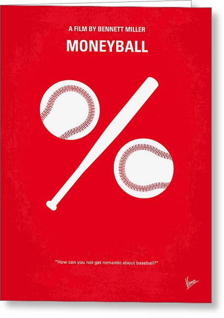 Baseball Print Greeting Cards - No191 My Moneyball minimal movie poster Greeting Card by Chungkong Art