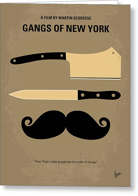 Graphic Design Greeting Cards - No195 My Gangs of New York minimal movie poster Greeting Card by Chungkong Art