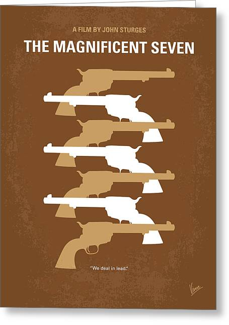 Gunman Greeting Cards - No197 My The Magnificent Seven minimal movie poster Greeting Card by Chungkong Art
