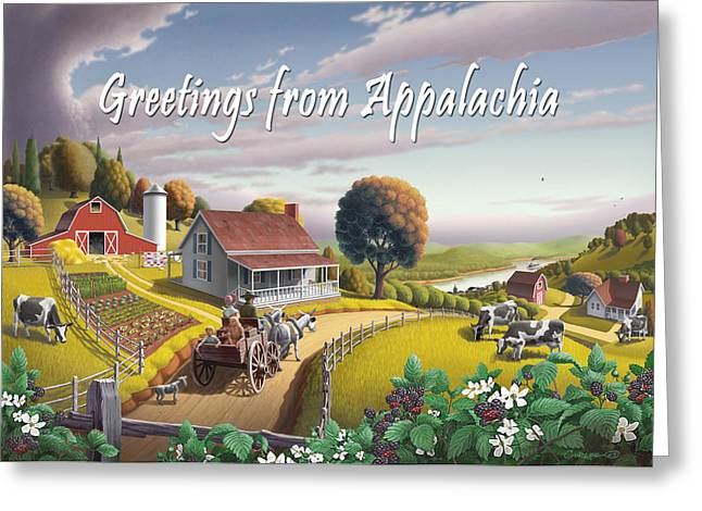 Amish Family Paintings Greeting Cards - no2 Greetings from Appalachia Greeting Card by Walt Curlee