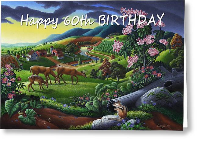 Tennessee Farm Greeting Cards - no20 Happy 60th Birthday Greeting Card by Walt Curlee