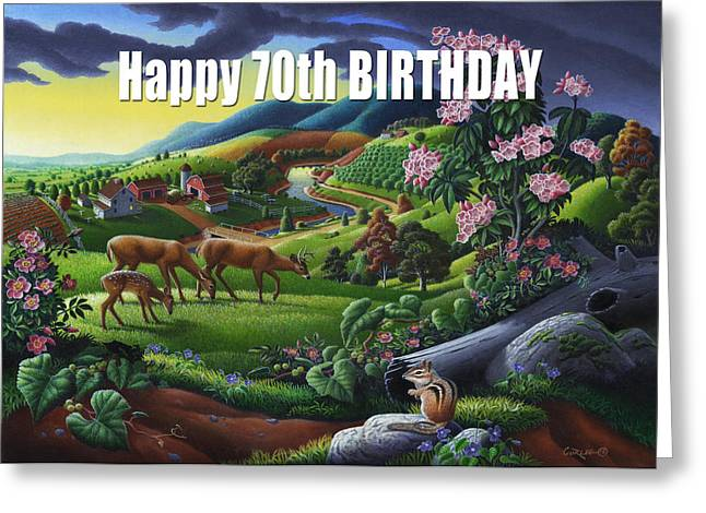 Tennessee Farm Greeting Cards - no20 Happy 70th Birthday Greeting Card by Walt Curlee