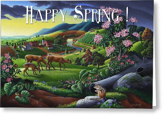 Tennessee Farm Greeting Cards - no20 Happy Spring Greeting Card by Walt Curlee