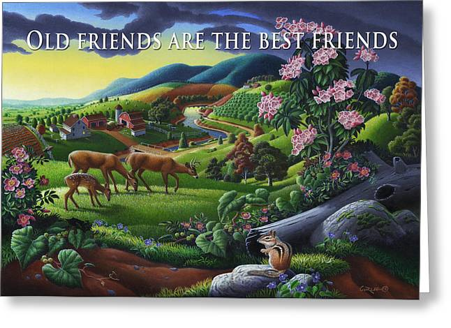 Tennessee Farm Greeting Cards - no20 Old friends are the best friends Greeting Card by Walt Curlee