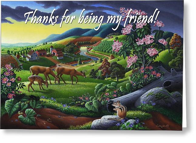 Tennessee Farm Greeting Cards - no20 Thank you for being my friend Greeting Card by Walt Curlee
