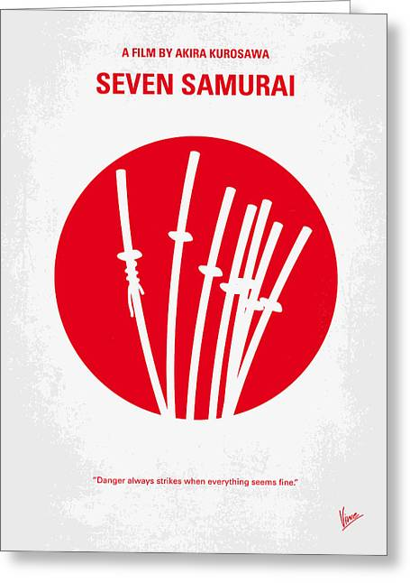 Vintage Design Greeting Cards - No200 My The Seven Samurai minimal movie poster Greeting Card by Chungkong Art