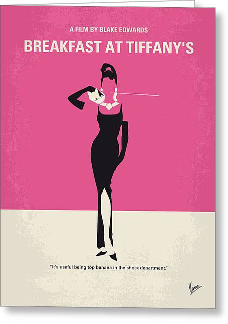 Printed Greeting Cards - No204 My Breakfast at Tiffanys minimal movie poster Greeting Card by Chungkong Art