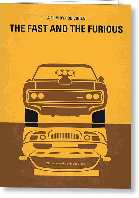 Fast Greeting Cards - No207 My The Fast and the Furious minimal movie poster Greeting Card by Chungkong Art