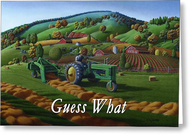Tennessee Hay Bales Greeting Cards - no21 Guess What greetings Greeting Card by Walt Curlee