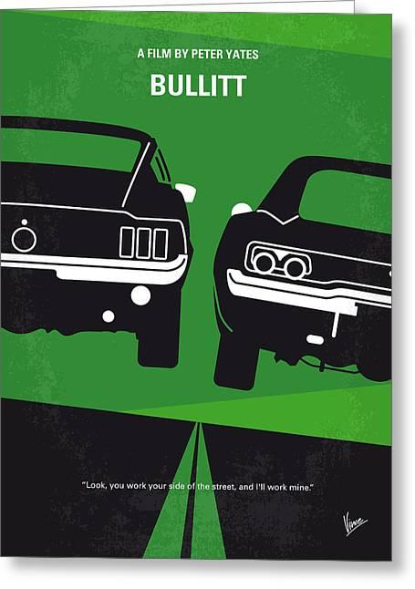 Black Greeting Cards - No214 My BULLITT minimal movie poster Greeting Card by Chungkong Art
