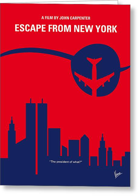 Nyc Posters Digital Art Greeting Cards - No219 My Escape from New York minimal movie poster Greeting Card by Chungkong Art