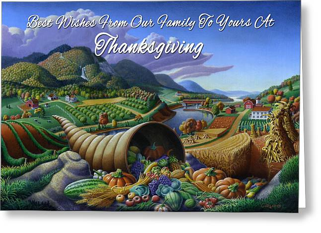 Cornucopia Paintings Greeting Cards - no22 Best Wishes From Our Family To Yours At Thanksgiving Greeting Card by Walt Curlee