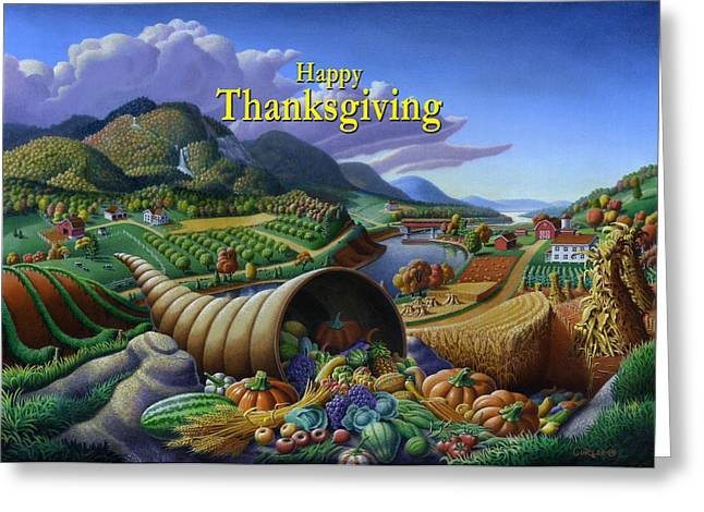 Cornucopia Paintings Greeting Cards - no22 Happy Thanksgiving Greeting Card by Walt Curlee