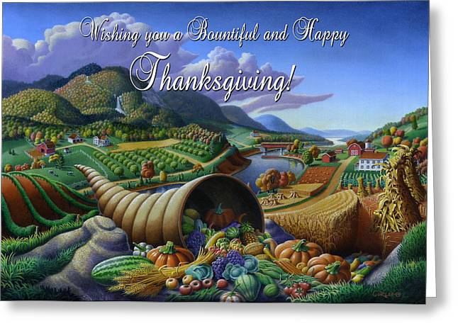 Cornucopia Paintings Greeting Cards - no22 Wishing you a Bountiful and Happy Thanksgiving Greeting Card by Walt Curlee