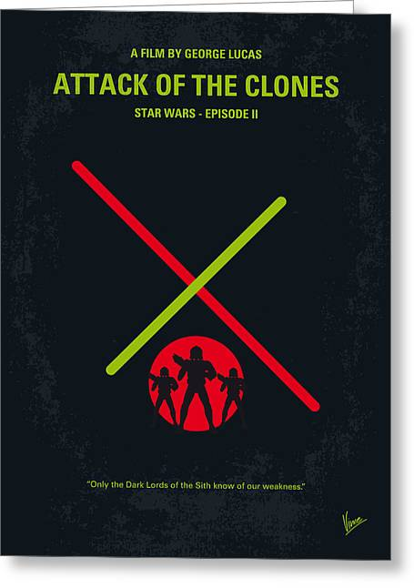 Luke Greeting Cards - No224 My STAR WARS Episode II ATTACK OF THE CLONES minimal movie poster Greeting Card by Chungkong Art
