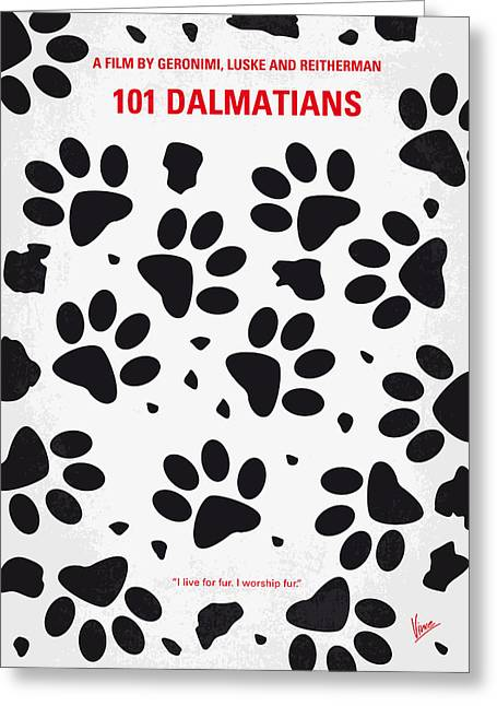 Puppies Print Greeting Cards - No229 My 101 Dalmatians minimal movie poster Greeting Card by Chungkong Art