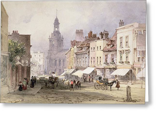 Traffic Drawings Greeting Cards - No.2351 Chester, C.1853 Greeting Card by William Callow