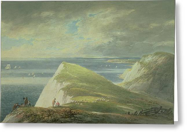 Landscape Drawings Greeting Cards - No.2372 Shakespeares Cliff, Dover Greeting Card by William Payne
