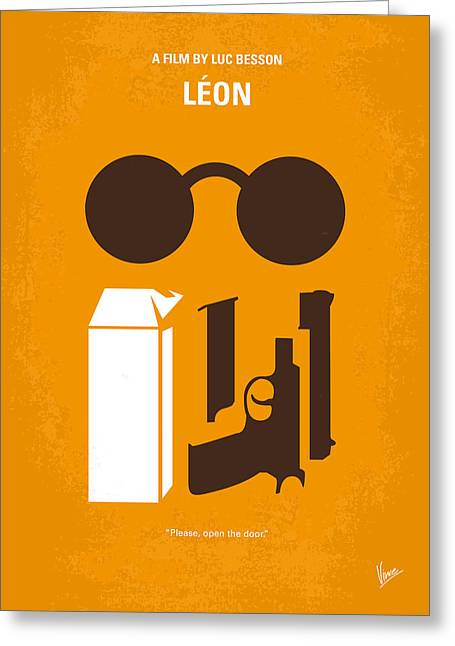 Movie Art Greeting Cards - No239 My LEON minimal movie poster Greeting Card by Chungkong Art