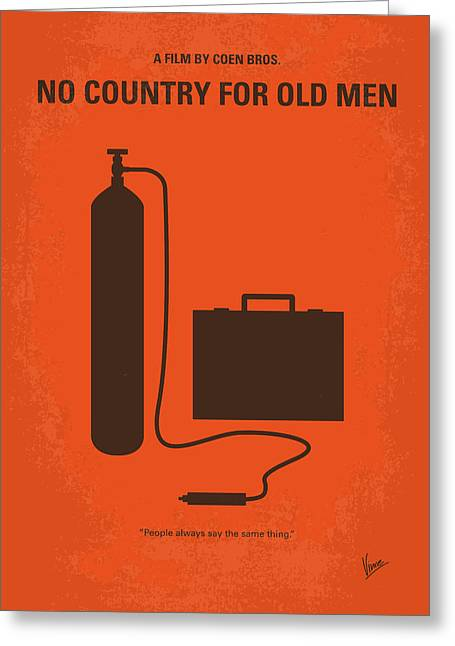 Old Man Greeting Cards - No253 My No Country for Old men minimal movie poster Greeting Card by Chungkong Art