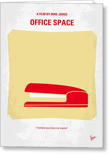 Graphic Greeting Cards - No255 My OFFICE SPACE minimal movie poster Greeting Card by Chungkong Art