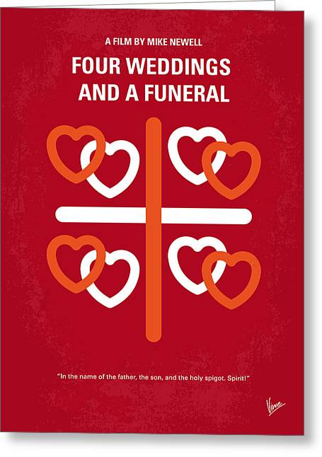 Funeral Greeting Cards - No259 My Four Weddings and a Funeral minimal movie poster Greeting Card by Chungkong Art