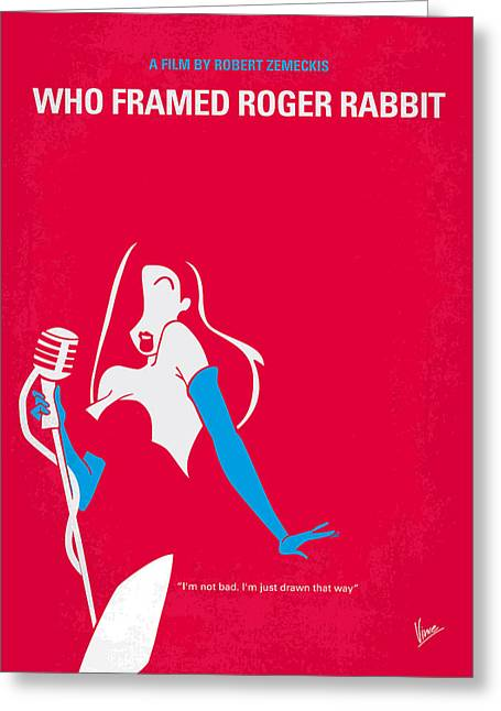 Cartoon Greeting Cards - No271 My ROGER RABBIT minimal movie poster Greeting Card by Chungkong Art