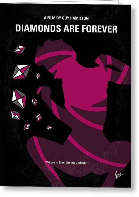 Connery Greeting Cards - No277-007 My Diamonds Are Forever minimal movie poster Greeting Card by Chungkong Art