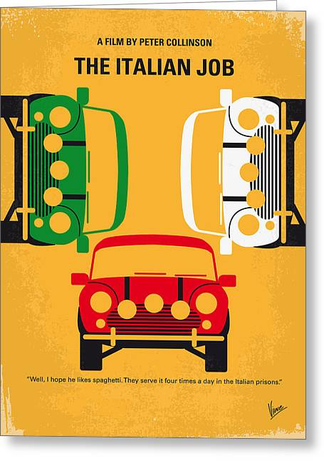 Italian Cinema Greeting Cards - No279 My The Italian Job minimal movie poster Greeting Card by Chungkong Art