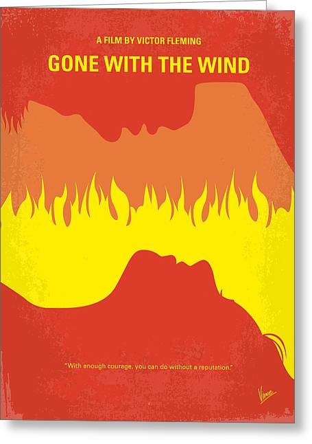 Gable Greeting Cards - No299 My Gone With the Wind minimal movie poster Greeting Card by Chungkong Art