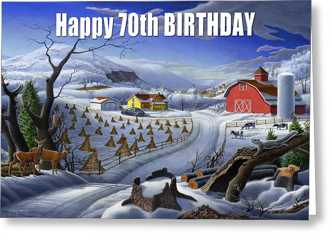 Tennessee Barn Paintings Greeting Cards - no3 Happy 70th Birthday Greeting Card by Walt Curlee