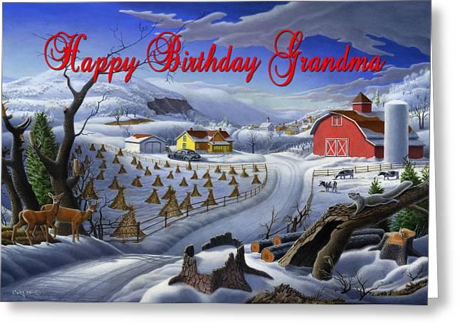 Tennessee Barn Paintings Greeting Cards - no3 Happy Birthday Grandma Greeting Card by Walt Curlee