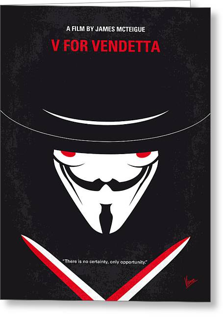 Masked Greeting Cards - No319 My V for Vendetta minimal movie poster Greeting Card by Chungkong Art