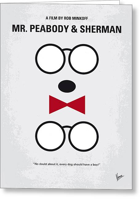 Genius Greeting Cards - No324 My Mr Peabody minimal movie poster Greeting Card by Chungkong Art