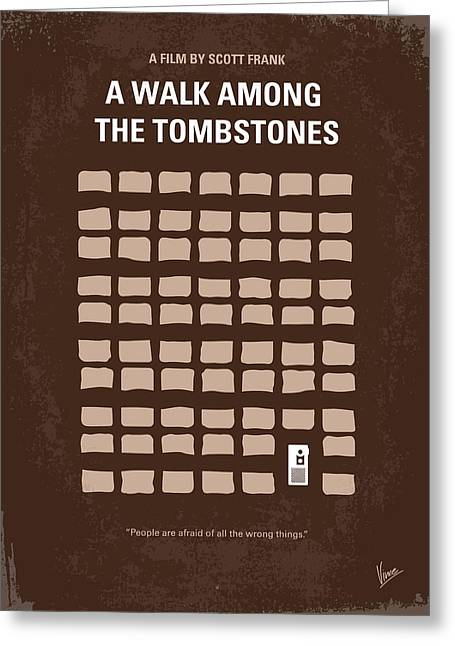No341 My Walk Among The Tombstones Minimal Movie Poster Greeting Card by Chungkong Art