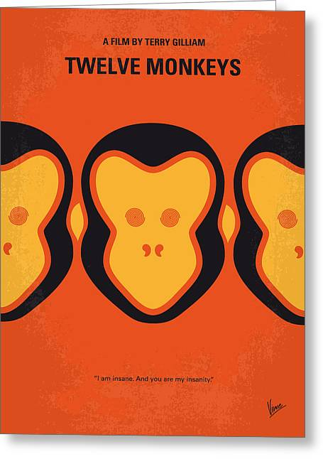 Underground Art Greeting Cards - No355 My 12 MONKEYS minimal movie poster Greeting Card by Chungkong Art
