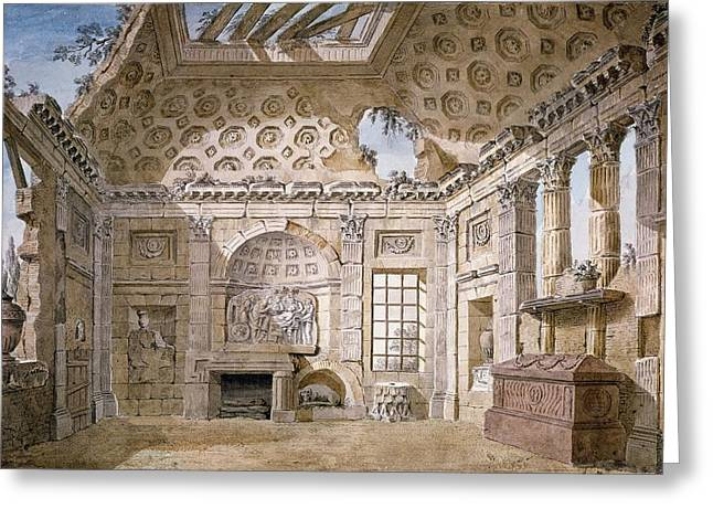 Architectural Design Greeting Cards - Monastery of St Trinita del Monte Greeting Card by Charles Louis Clerisseau