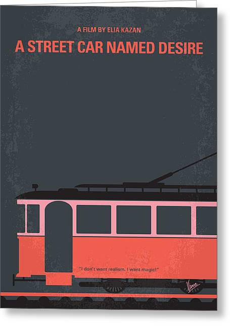 Marlon Brando Poster Greeting Cards - No397 My street car named desire minimal movie poster Greeting Card by Chungkong Art