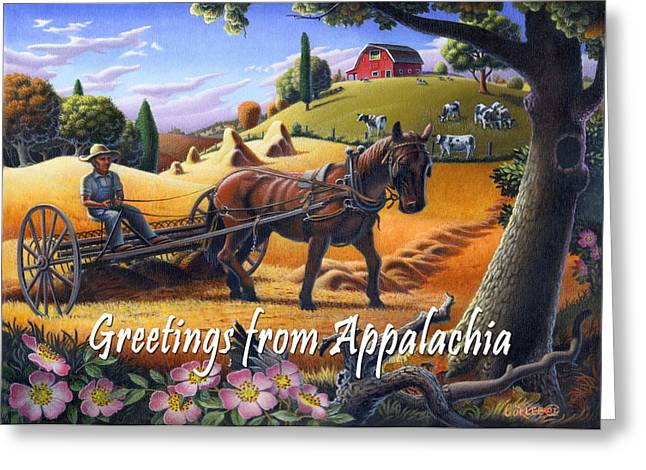 Folksy Greeting Cards - no4 Greetings from Appalachia Greeting Card by Walt Curlee