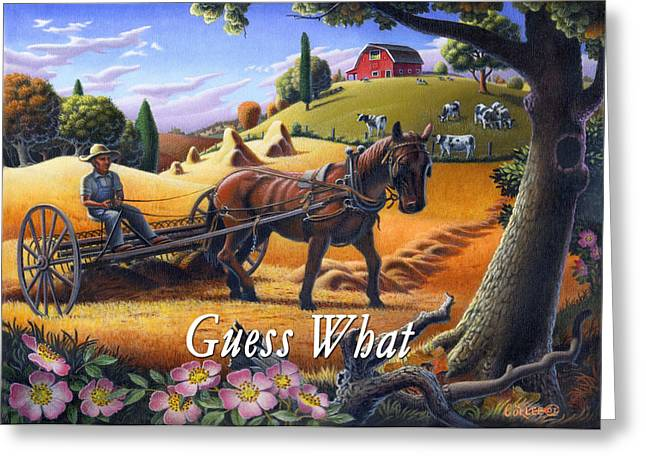 Folksy Greeting Cards - no4 Guess What Greeting Card by Walt Curlee