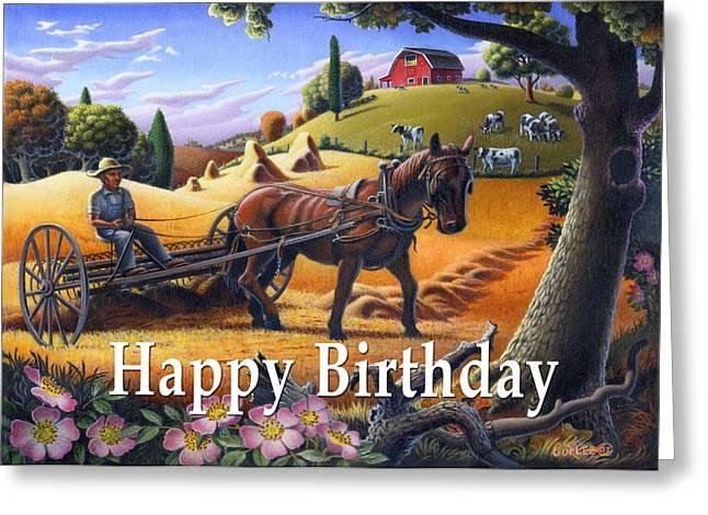 Folksy Greeting Cards - no4 Happy Birthday Greeting Card by Walt Curlee