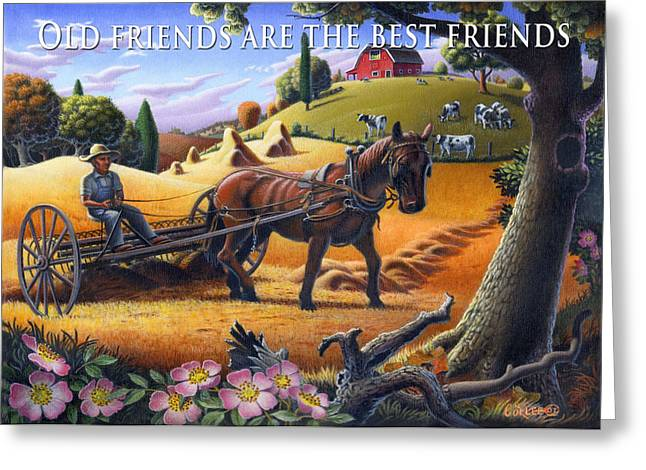 Folksy Greeting Cards - no4 Old friends are the best friends Greeting Card by Walt Curlee