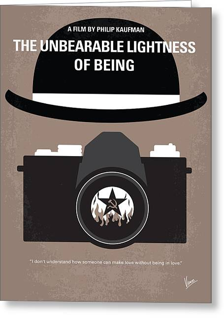 Tank Greeting Cards - No401 My The Unbearable Lightness of Being minimal movie poster Greeting Card by Chungkong Art