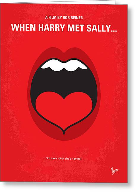 Met Greeting Cards - No405 My When Harry Met Sally minimal movie poster Greeting Card by Chungkong Art
