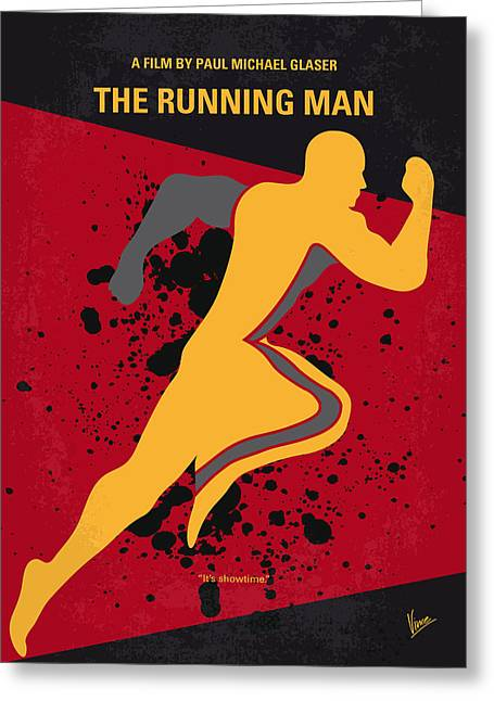 Schwarzenegger Greeting Cards - No425 My Running man minimal movie poster Greeting Card by Chungkong Art